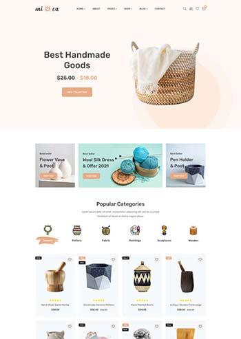 简洁的手工商品电子商务HTML模板