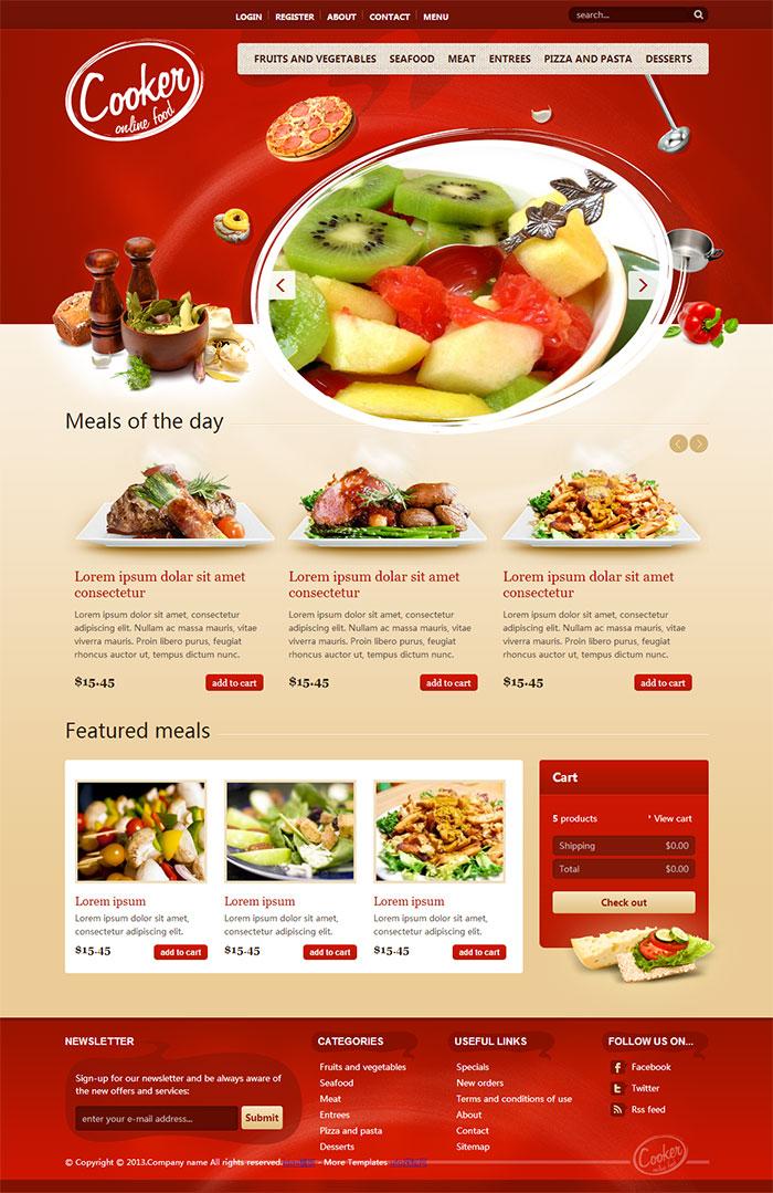 红色漂亮精美西餐美食企业官网模板