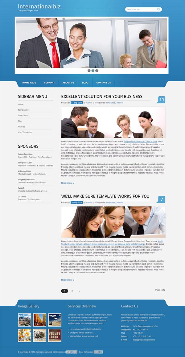 蓝色个性律师事务所公司网页模板