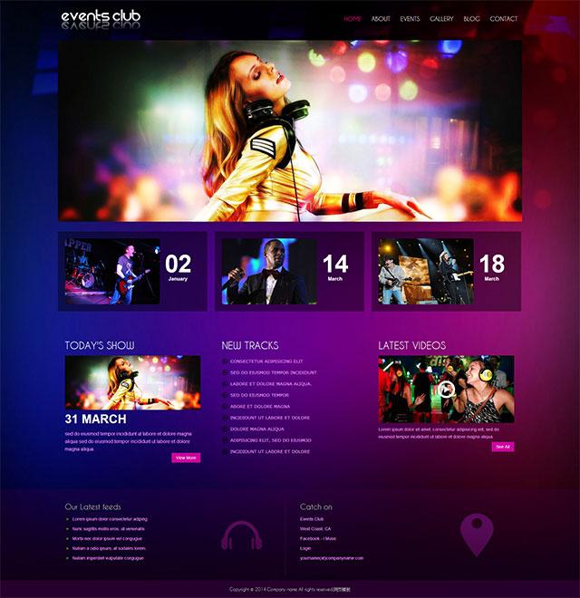 紫色梦幻风格的音乐俱乐部html模板