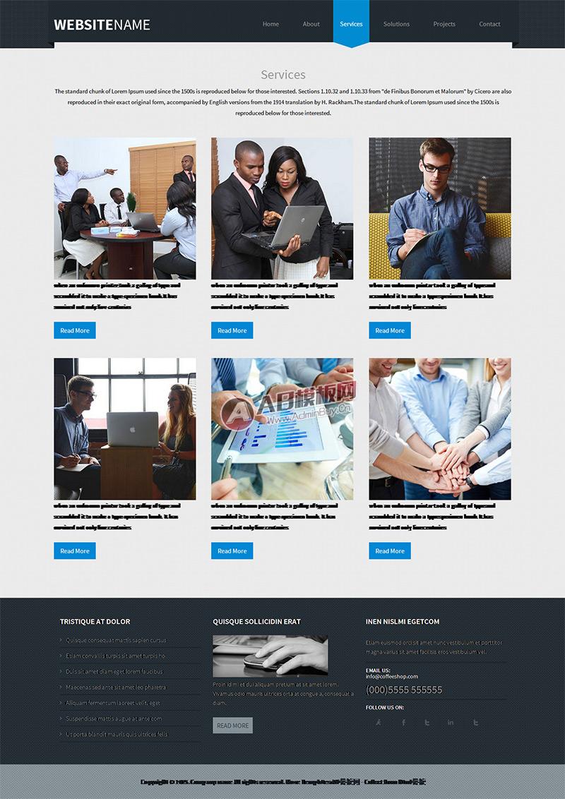 蓝色经典商务外贸商务企业网站模板