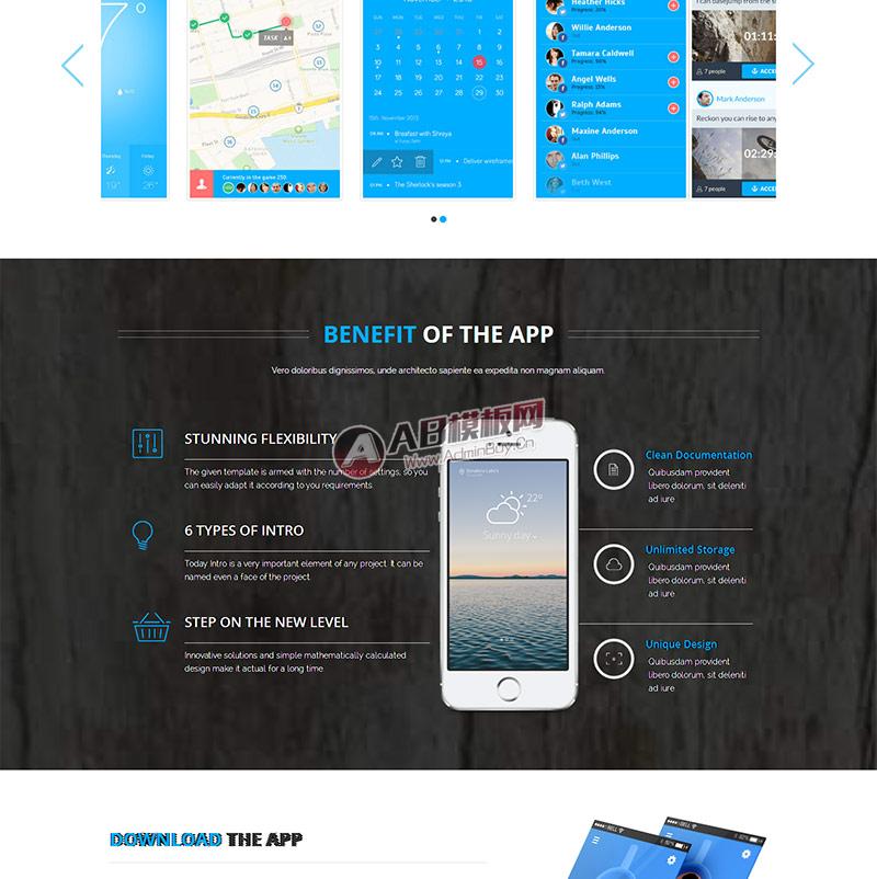 html5响应式手机app官网展示模板