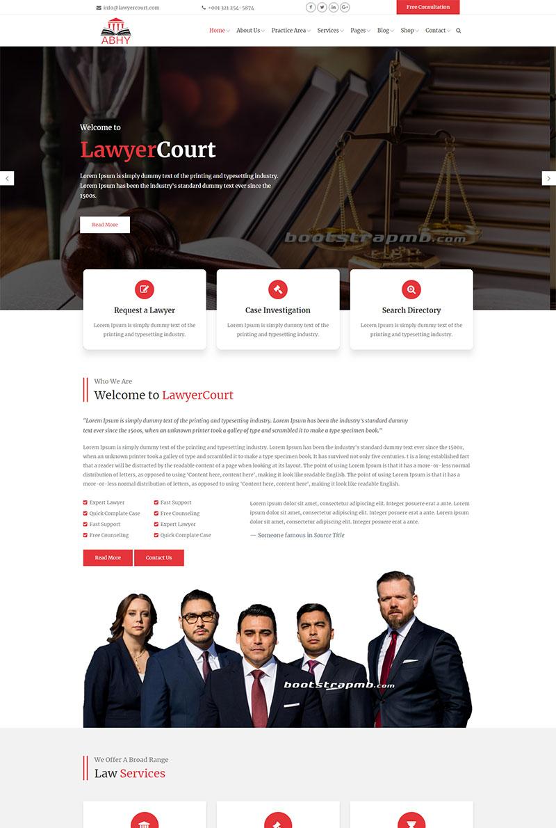 红色响应式大气律师事务所网站Bootstrap模板