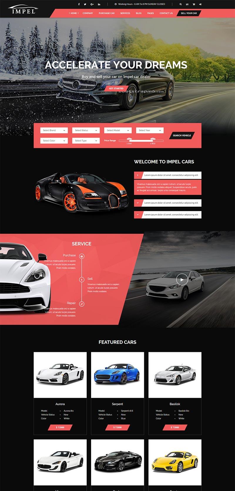 大气红色的汽车经销商网站模板