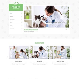 绿色宠物医院静态网站Bootstrap模板