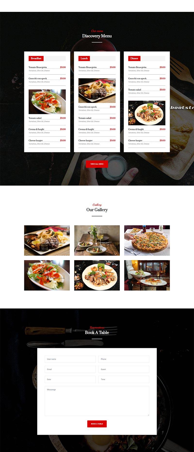 大气餐饮美食网站Bootstrap静态html网站模板