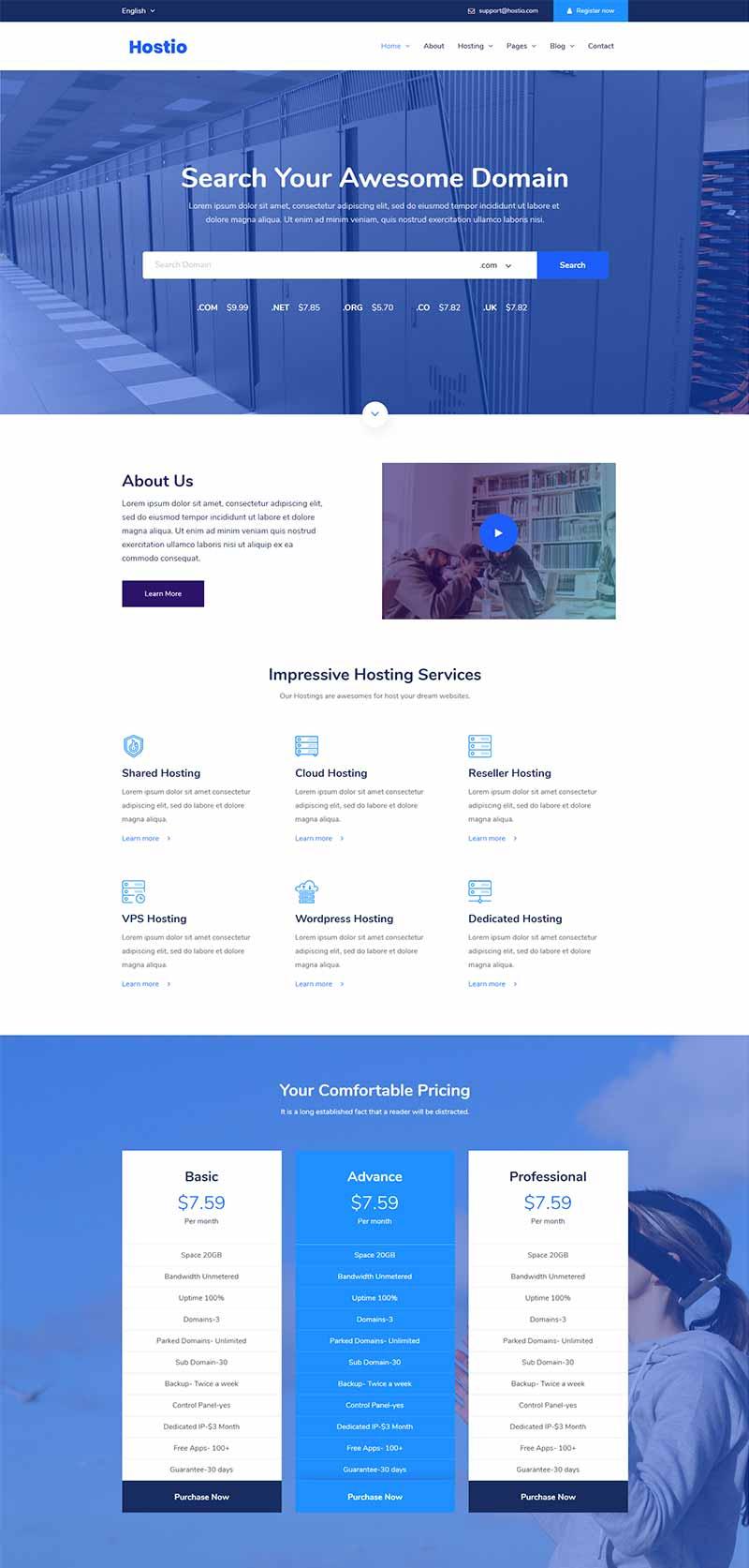 IDC服务器虚拟主机服务商网站bootstrap响应式html模板