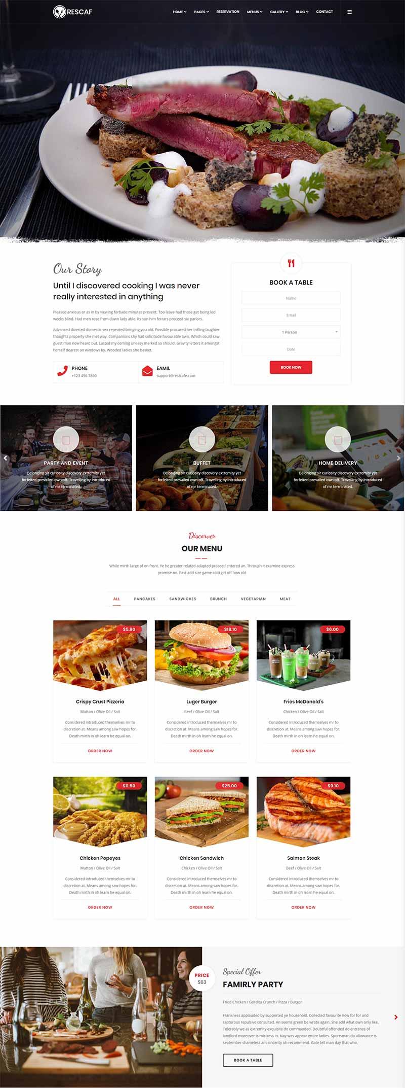 咖啡厅餐饮行业响应式静态html网站模板