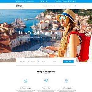 蓝色旅行社组团旅游公司静态HTML网站Bootstrap模板