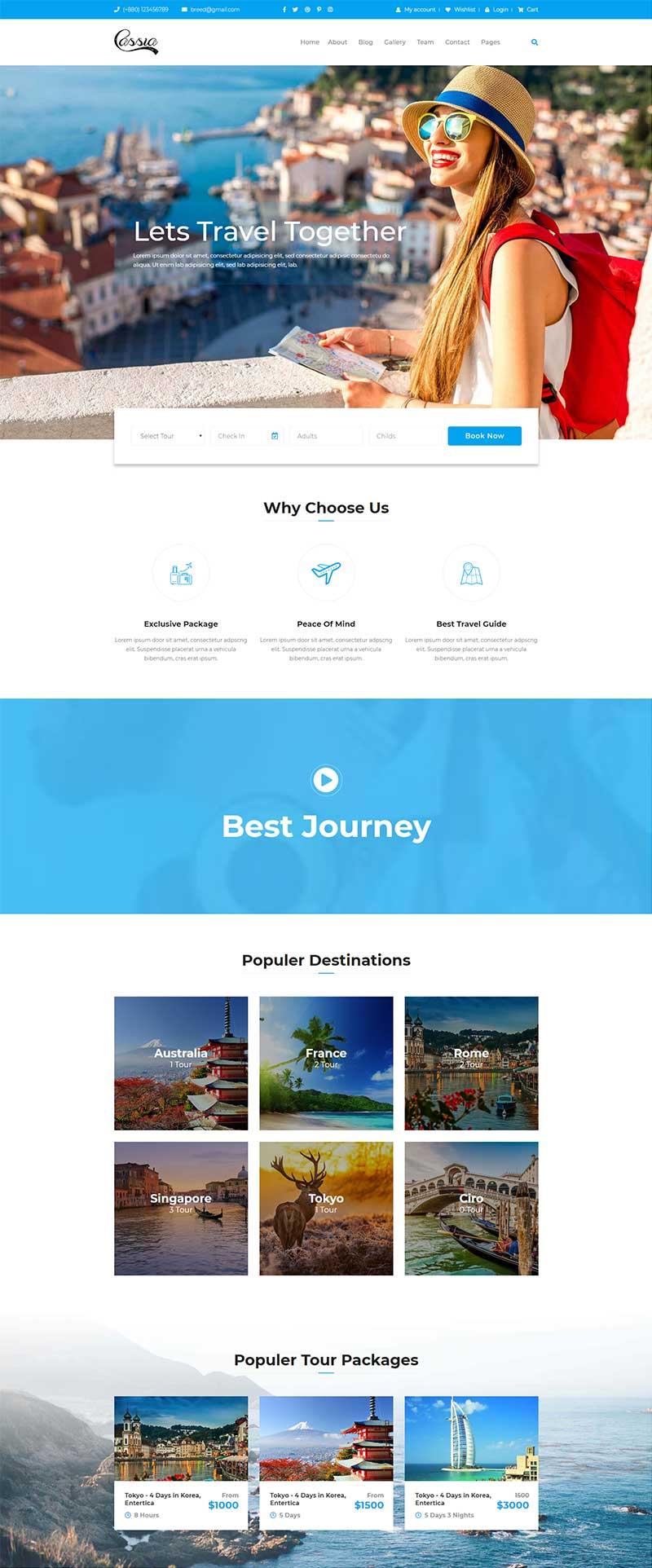 蓝色旅行社组团旅游公司静态HTML网站Bootstrap爱博体育线路