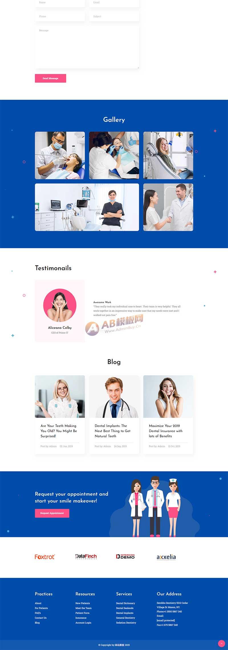 蓝色通用的牙科医疗诊所html网站爱博体育线路