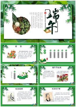绿色大气传统节日端午节文化介绍主题PPT模板