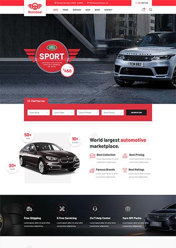 红色大气的汽车销售交易平台静态网页html模板