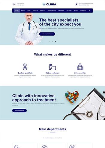 蓝色医疗诊所服务网站HTML5模板