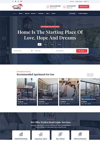 深蓝色房地产信息资讯平台静态HTML5模板