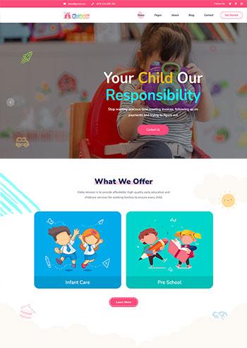 响应式粉色卡通的儿童教育机构网站HTML5模板