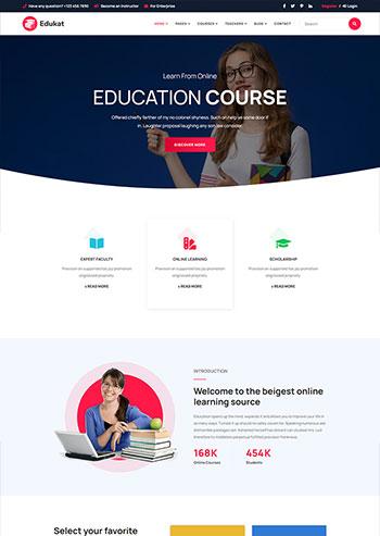响应式教育课程培训学习类官网静态html模板