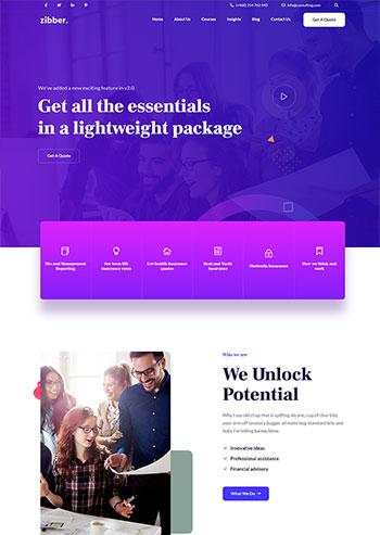 蓝紫色商务投资咨询公司HTML5模板