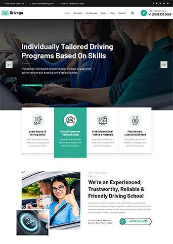 绿色汽车驾校培训企业官网静态HTML模板