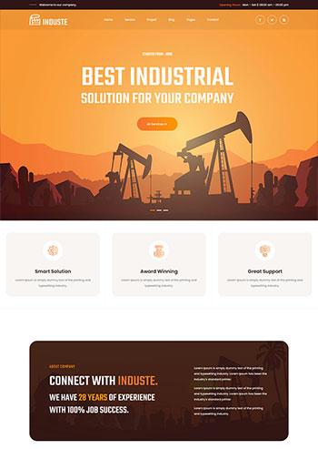 橙色橘黄色多用途的工业生产企业网站模板