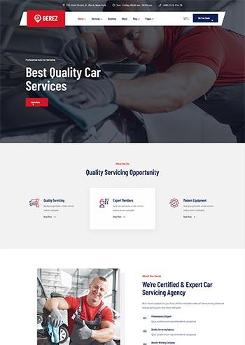 红色汽车维修服务店铺官网HTML5模板