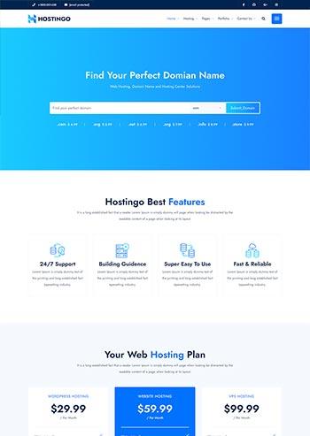 蓝色风格IDC服务器主机托管网站HTML5模板