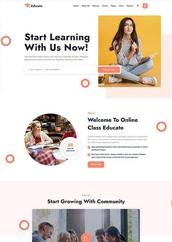 橘黄色响应式html5在线学习教育企业静态网站模板