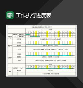 旗舰店月度工作执行进度表Excel模板