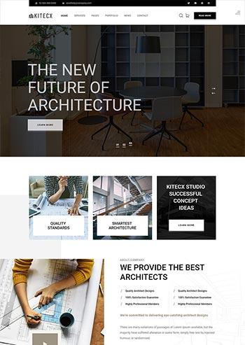 黑色大气简约的室内建筑行业HTML模板