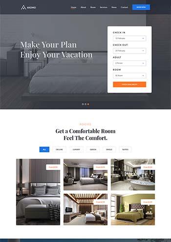 多功能的度假村和酒店官网HTML模板