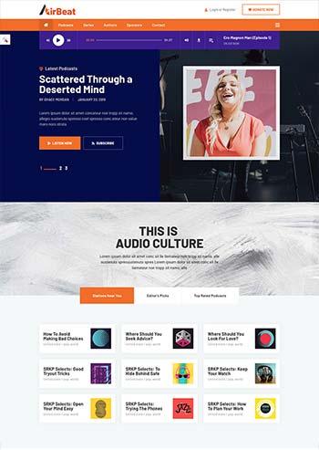 多用途音频播客和音乐网站HTML模板
