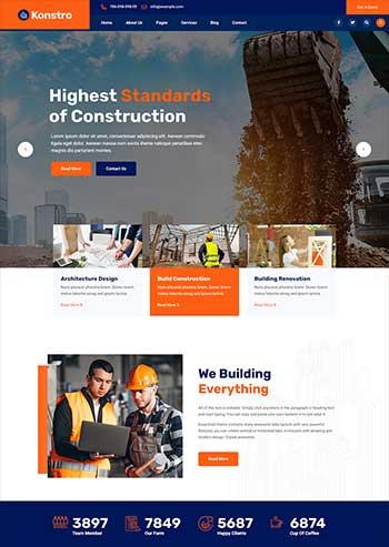 市政建筑工程行业网站模板
