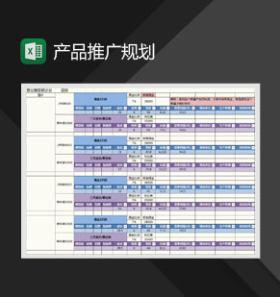 网店产品推广规划表Excel模板