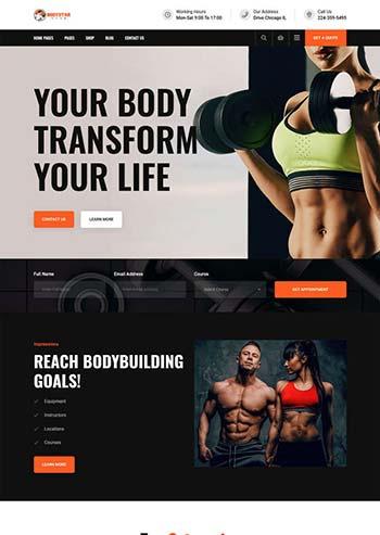 黑色的健身房设备公司官网模板