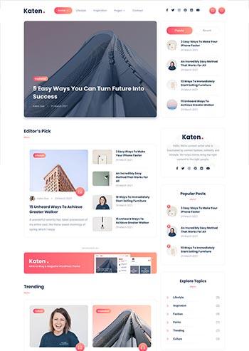 轻量级的博客和杂志HTML模板