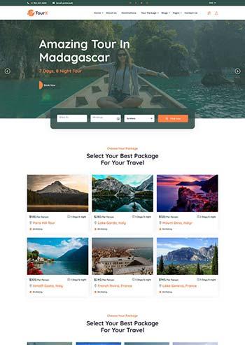 大气的旅游套餐服务HTML5网站模板