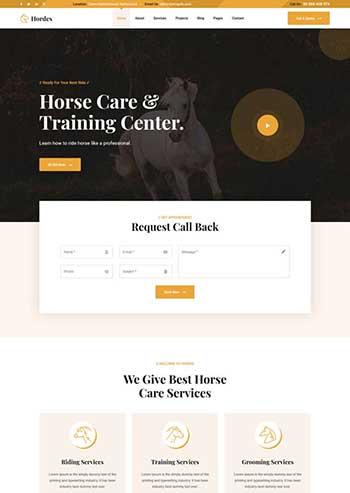 骑马训练牧场官网响应式模板