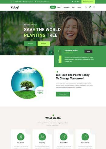 绿色环境保护公益网站HTML5模板