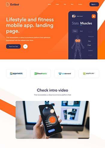 健身运动app官网展示模板