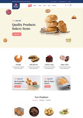 甜品面包店铺HTML电商模板