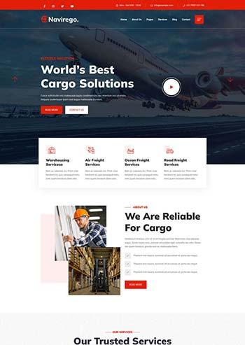 红色的物流快递公司网站HTML模板